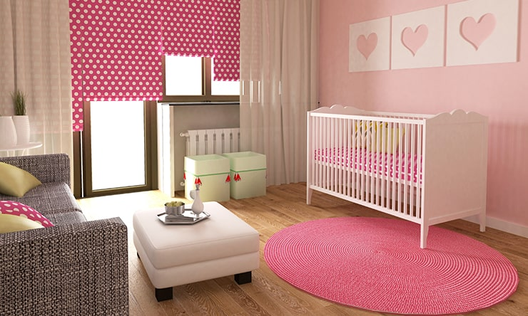 A pink baby room