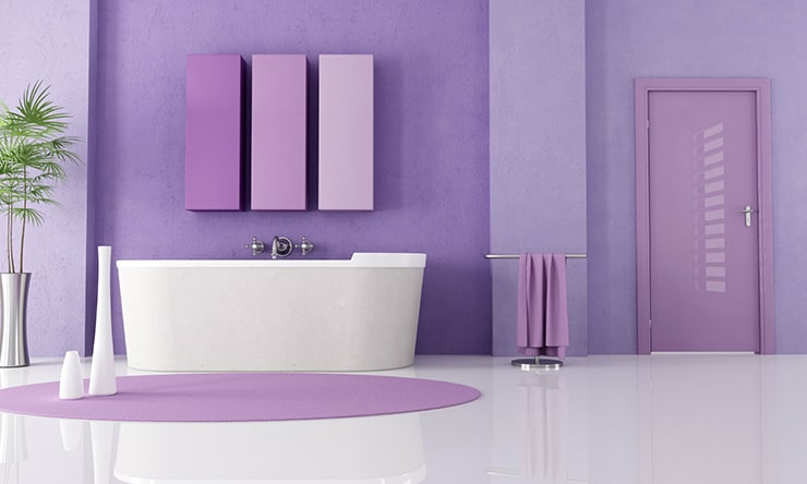 A bathroom in purple hues