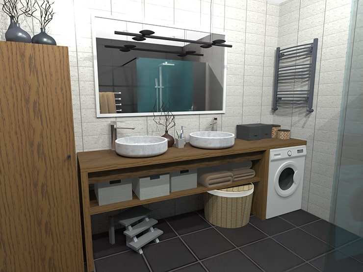 A bathroom designed in Live Home 3D and rendered in AMD Radeon ProRender