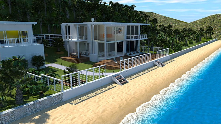 A beach house designed in Live Home 3D and rendered in AMD Radeon ProRender