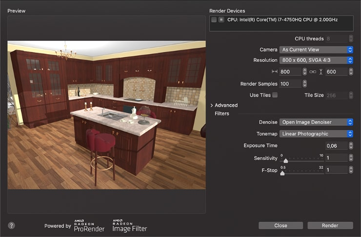 Render with Radeon ProRender dialog of Live Home 3D for Mac