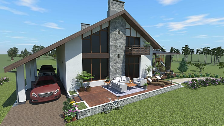 A house designed in Live Home 3D and rendered in AMD Radeon ProRender