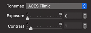 ACES Filmic Tonemap of the Render with Radeon ProRender dialog of Live Home 3D for Mac