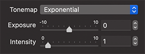 Exponential Tonemap of the Render with Radeon ProRender dialog of Live Home 3D for Mac
