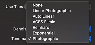 Tonemap section of the Render with Radeon ProRender dialog of Live Home 3D for Mac