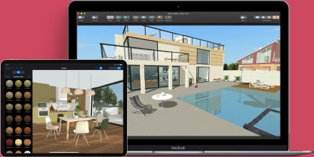 Live Home 3D with interior designs opened on MacBook Pro and iPad