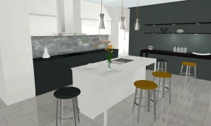 A kitchen in gray and white colorsm