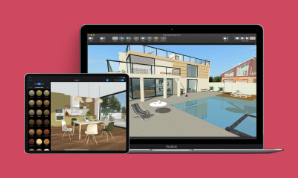 A MacBook Pro and an iPad with Live Home 3D interior design app