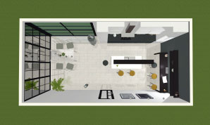 Top view of a room made in Live Home 3D