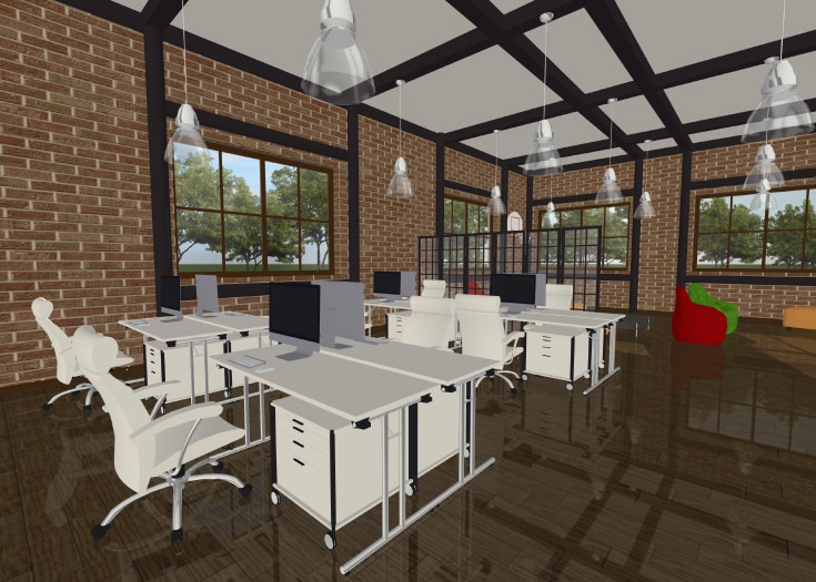 A loft office designed in Live Home 3D
