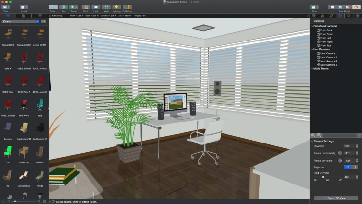 An office design made in Live Home 3D for macOS