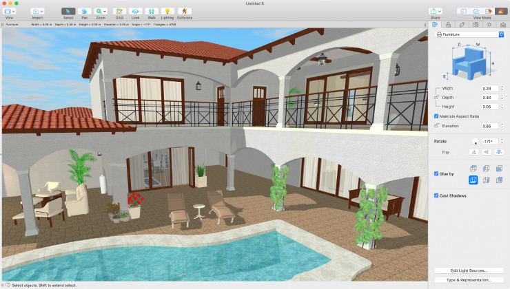 A Mediterranean house made in Live Home 3D for Mac