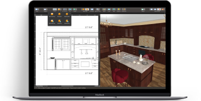 A kitchen design opened in Live Home 3D on MacBook laptop: 3D view and 3D elevation view.
