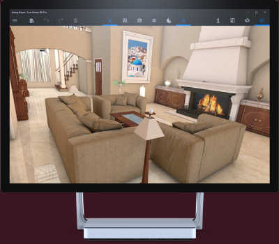 Stylish living room design in Live Home 3D app on Microsoft Surface Studio 2.